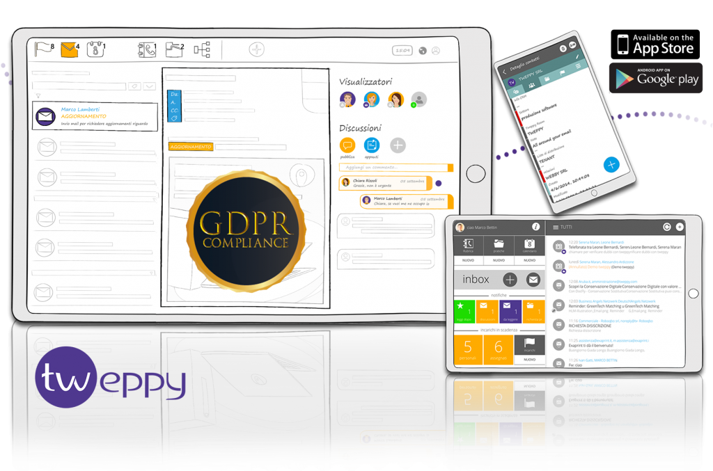 desktabletmobile CHAT loghi GDPR 1 1024x677 Automatic traceability of any shared information   CRM